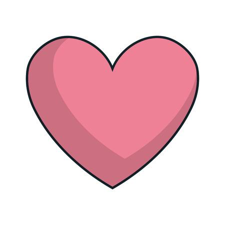 romance: pink heart shape. love romance passion symbol. vector illustration