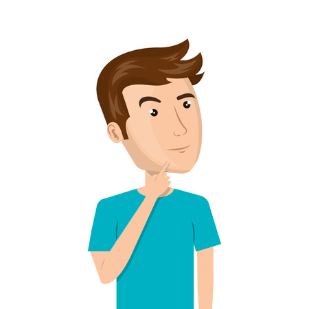 Avatar hombre que piensa y vistiendo ropa casual de dibujos animados. ilustración vectorial Foto de archivo - 62782942