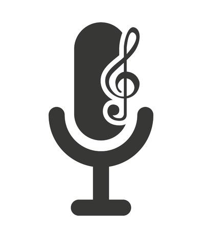 audio icon: retro microphone with audio icon vector illustration design