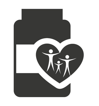 doses: bottle drugs with medical icon vector illustration design
