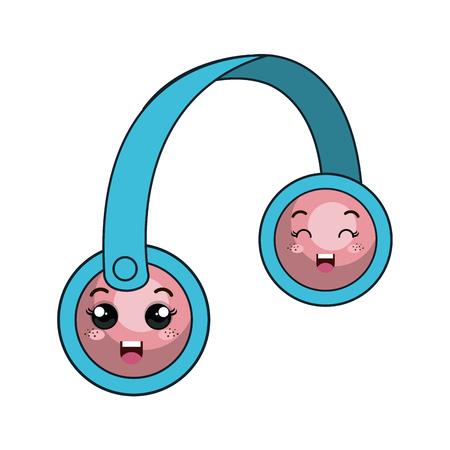 cartoon headset with cartoon face. vector illustration