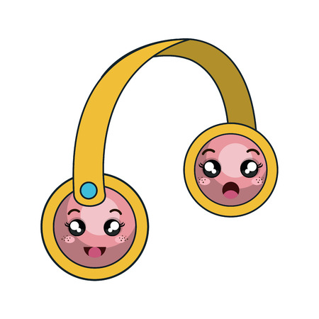 face with headset: cartoon headset with cartoon face. vector illustration