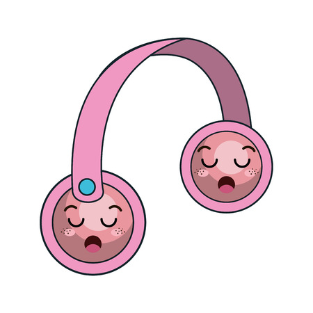 face with headset: kawaii cartoon headset with cartoon face. vector illustration