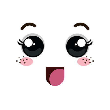 mouth smile: cartoon emoticon with happy expression face. vector illustration