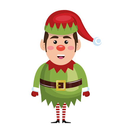 helper: santa helper elf cartoon with red and green hat. christmas symbol. vector illustration Illustration