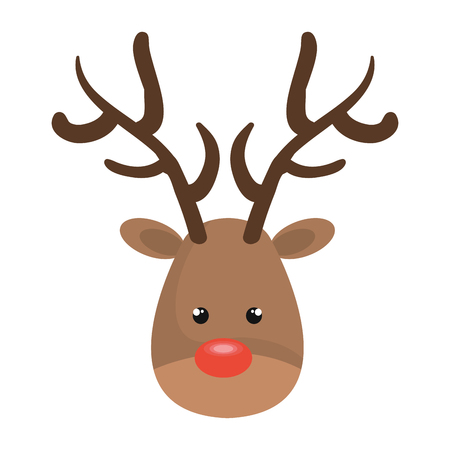 nariz roja: christmas deer cartoon with red nose. rudolph character. vector illustration Vectores
