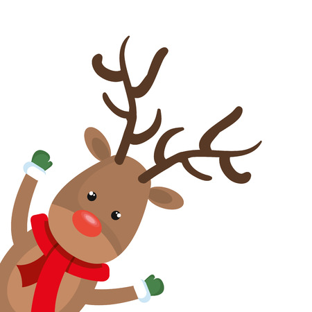 red nose: christmas deer cartoon with red nose. rudolph character. vector illustration Illustration