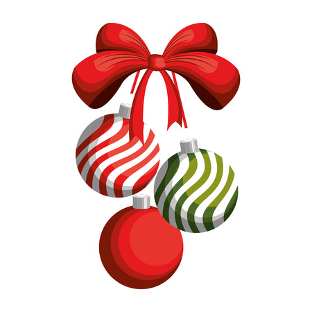 red bow ribbon: striped christmas ball decoration with red bow ribbon. vector illustration