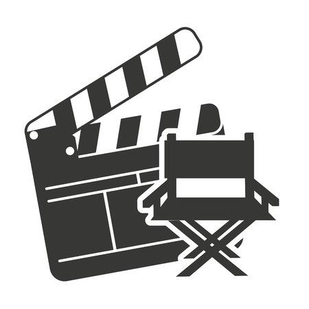clapperboard: clapperboard with cinema icon vector illustration design Illustration