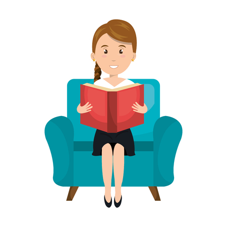 red couch: avatar woman smiling and reading a red book sitting on blue couch. vector illustration Illustration