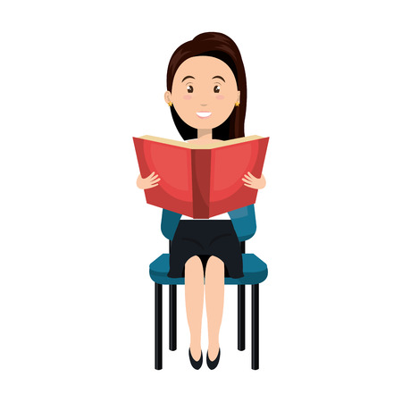 sitting on chair: avatar woman cartoon reading a book and sitting chair. vector illustration