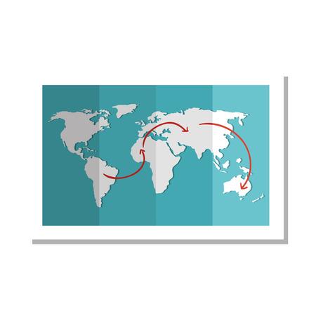 赤いナビゲーション矢印の付いた世界地球地図。ベクトル図
