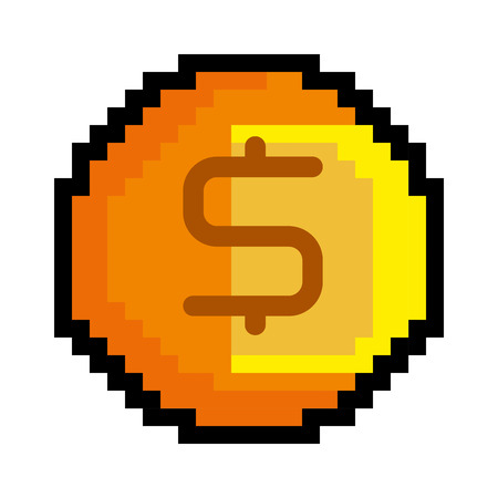 obsession: coin pixel game figure with money sign. vector illustration