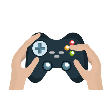 navigation buttons: hand holding a control player videogame with navigation buttons and joystick. vector illustration