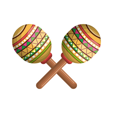 shekere: maracas instrument musical with mexican colorful decoration. vector illustration