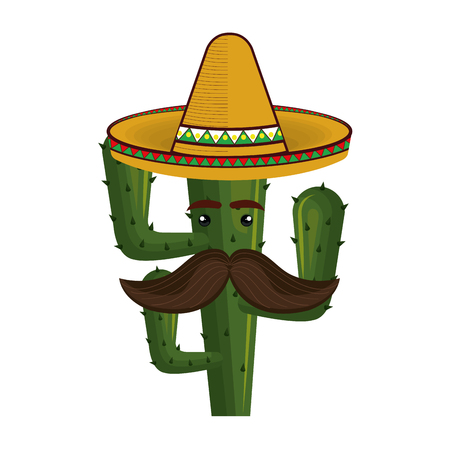 green cactus desert plant with mexican hat and mustache. vector illustration