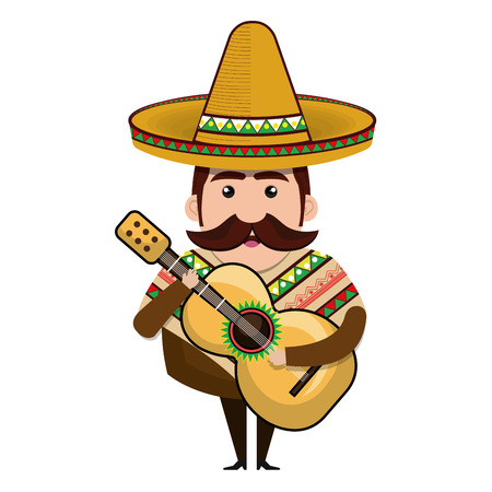 avatar  man cartoon with mustache and  wearing traditional mexican hat. vector illustration