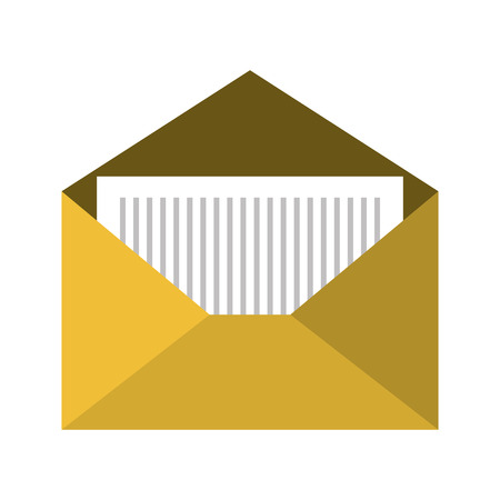 correspondence: open yellow mail envelope letter correspondence. front view. vector illuatration
