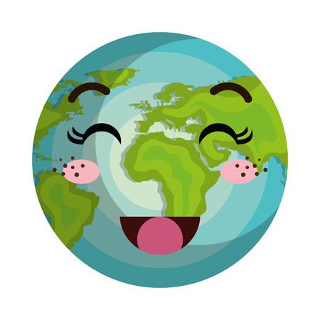 planeta tierra feliz: tierra de dibujos animados mundo planeta con la cara feliz expresión. ilustración vectorial