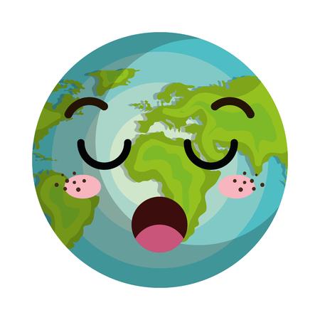 boring: earth world planet kawaii cartoon with boring face expression. vector illustration Illustration