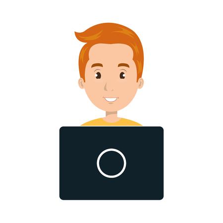 young man smiling: avatar young man smiling cartoon working with laptop. vector illustration