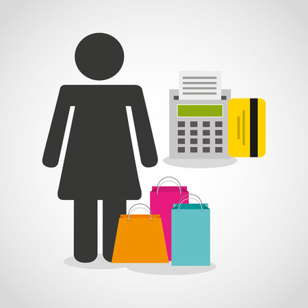 shopping people: shopping person avatar flat icons vector illustration design