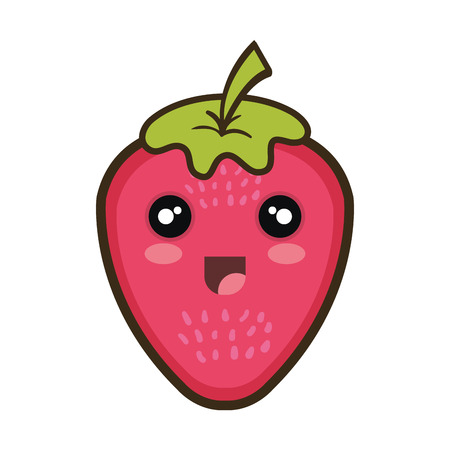 strawberry  fruit food. kawaii cartoon with happy expression face. Illustration