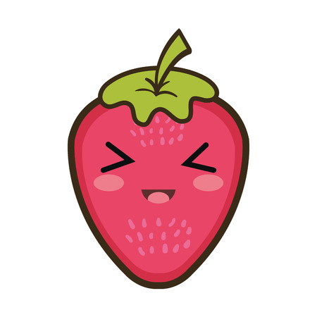kawaii: strawberry  fruit food. kawaii cartoon with happy expression face. Illustration