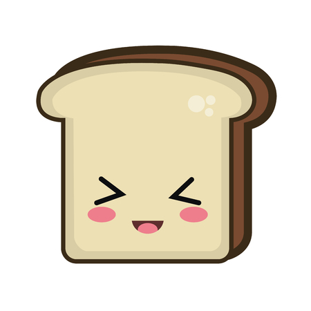 kawaii: bread slice. kawaii cartoon with happy expression face. vector illustration