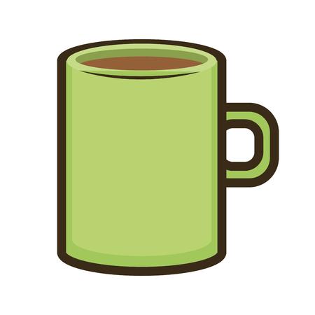 caffeine: green mug coffee beverage. caffeine drink. vector illustration Illustration