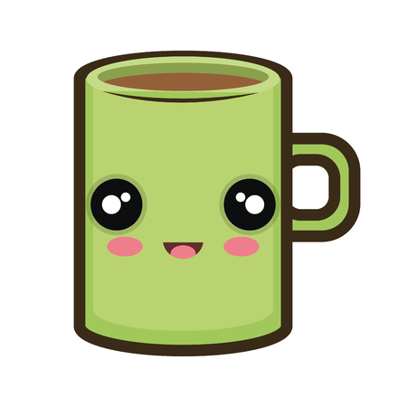kawaii: coffee mug. kawaii cartoon with happy expression face. vector illustration