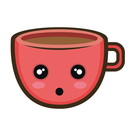 coffee cup. cartoon with surprised expression face. vector illustration