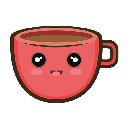 coffee cup. kawaii cartoon with happy expression face. vector illustration Illustration