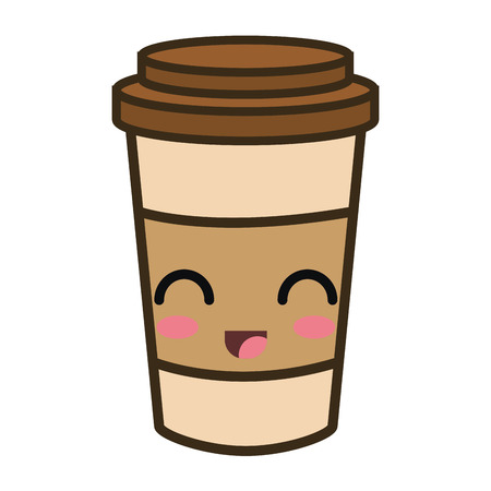 coffee portable cup. cartoon with happy expression face. vector illustration