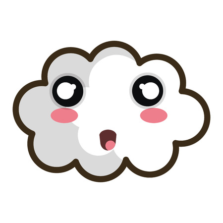 white cloud. cartoon with happy expression face. vector illustration Illustration