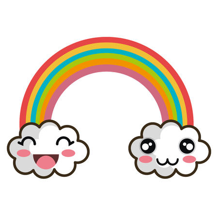 rainbow clouds: rainbow clouds. cartoon with happy expression face. vector illustration