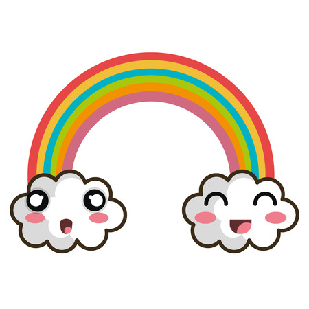 rainbow clouds: rainbow clouds.  cartoon with happy and surprised expression face. vector illustration Illustration