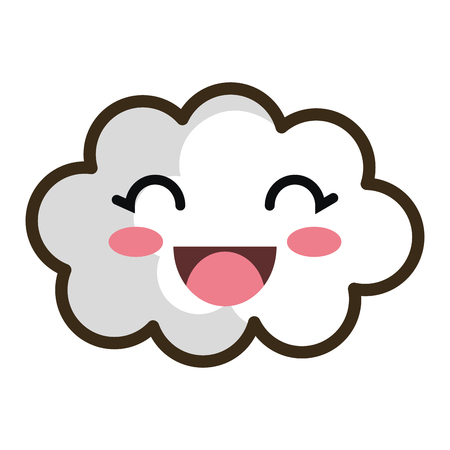 cartoon cloud: white cloud. cartoon with happy expression face. vector illustration Illustration
