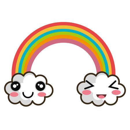 rainbow clouds. cartoon with happy expression face. vector illustration
