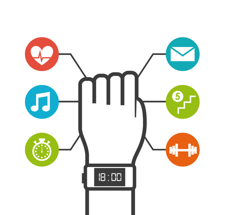 smartwatch wearable technology icons vector illustration design
