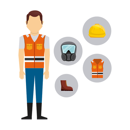 workwear: safety industry equipment flat icons vector illustration design
