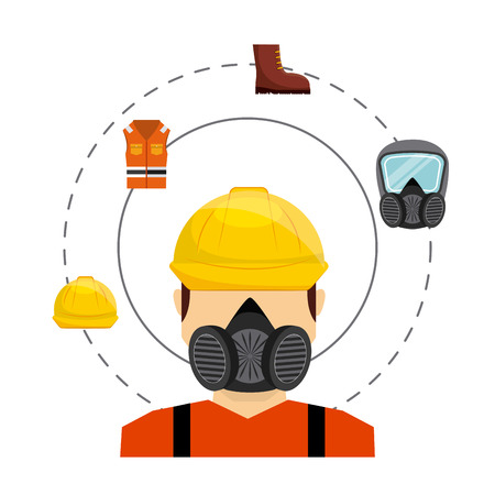 safety industry equipment flat icons vector illustration design