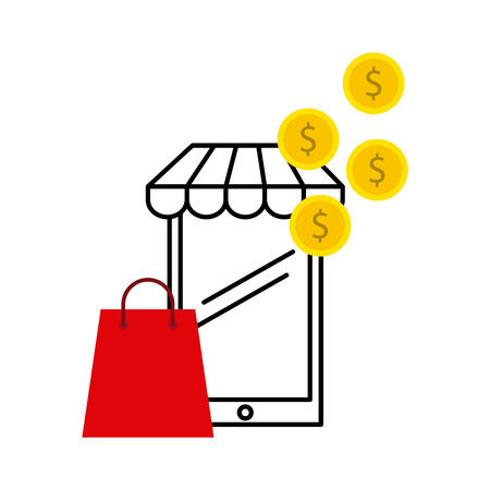 e shop: electronic commerce flat set icons vector illustration design Illustration