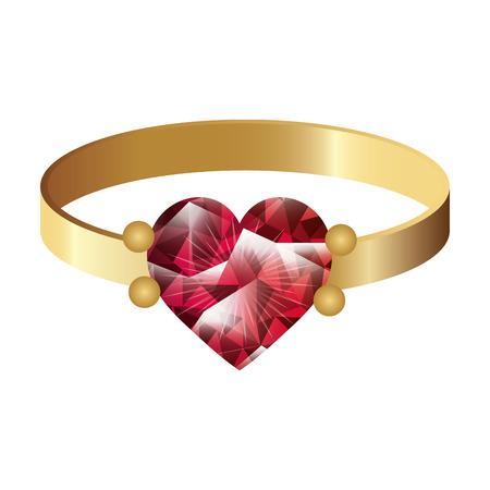 Bijoux Bague en or avec pierre précieuse. luxe et accessoire de mode. illustration vectorielle