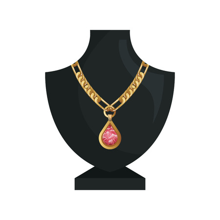 burlesque: neck mannequin with  jewelry gold necklace and precious stone. vector illustration