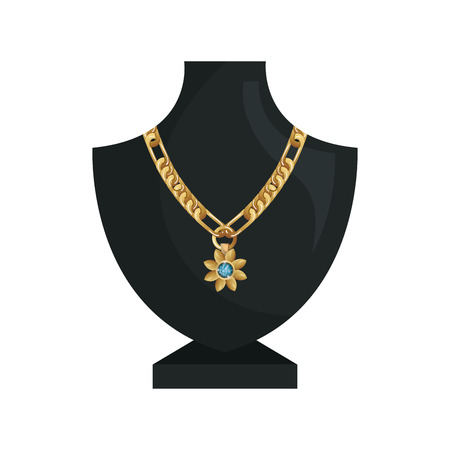 precious stone: neck mannequin with  jewelry gold necklace and precious stone. vector illustration