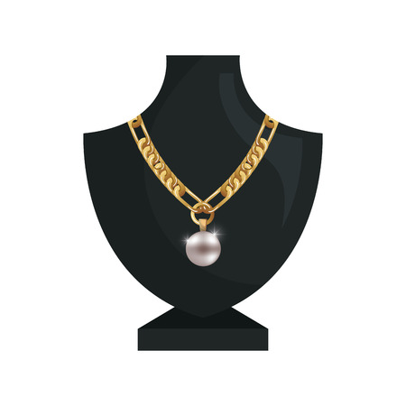 bijouterie: neck mannequin with  jewelry gold necklace and precious stone. vector illustration
