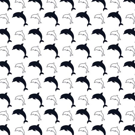 cetacea: dolphin marine aquatic animal background. silhouette vector illustration