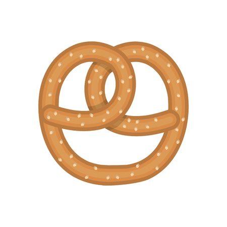 bretzel: classic pretzel bakery fresh snack food. vector illustration