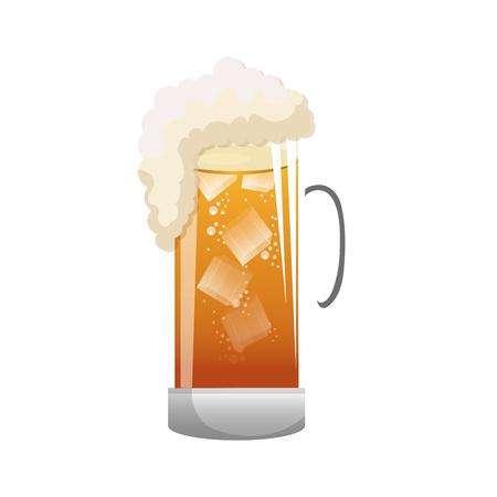 brewed: beer mug drink with foam. beverage alcohol. silhouette vector illustration